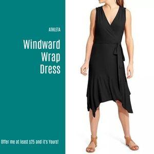 NWT Athleta Black Windward Wrap Dress  (W13)